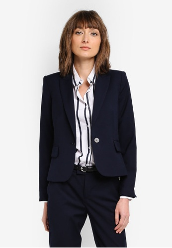 Mango blue and navy Patterned Suit Blazer MA193AA0T0YFMY_1