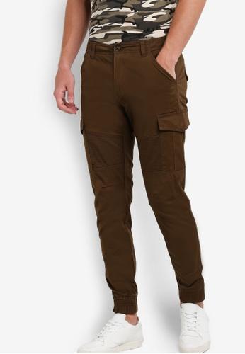Sparrow Green brown Raphael Biker Skinny Jogger Pants SP065AA01XOSMY_1