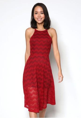 削肩雪佛龍蕾絲傘擺洋裝, 服飾, esprit 台北洋裝