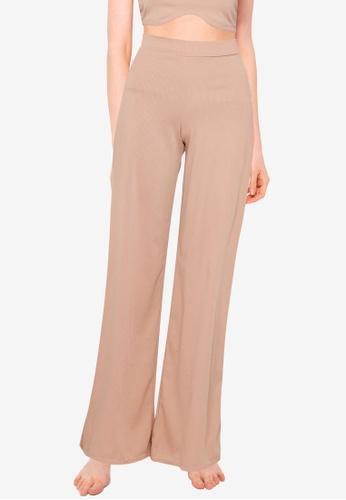 Public Desire beige Wide Leg Rib Trousers 64DDFAA56F9228GS_1