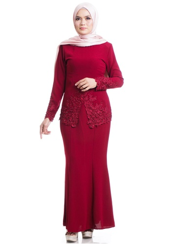 Ashura red Elyss Kebaya With V-Shaped Cut AB5C3AAA2D3D27GS_1