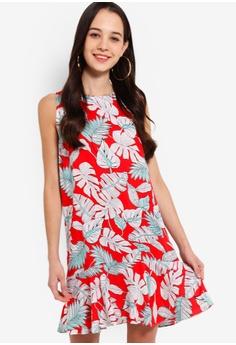 faa40e9aac15 Something Borrowed red Fluted Hem Sleeveless Dress 9E75CAAC55DE36GS 1