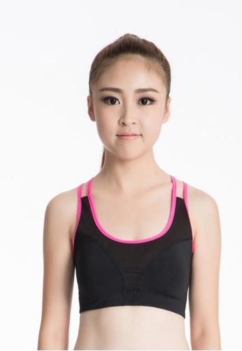 YSoCool black Padded Strappy Cross Back Sports Yoga Bra YS154US0S6IEMY_1