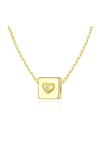 SUNRAIS gold Premium Silver S925 Gold Heart Necklace B0D63AC2BC1698GS_1