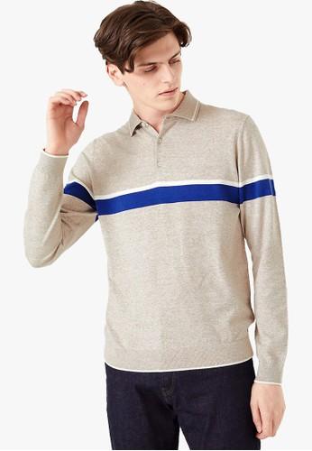 MARKS & SPENCER beige Cotton Rich Striped Polo Shirt F66BDAA4E16C84GS_1