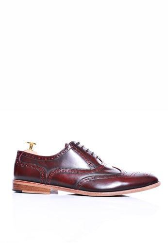 Zeve Shoes red Zeve Shoes Brogue Wingtip Lace Up - Red Polished Leather C8E0FSHBE5CF40GS_1