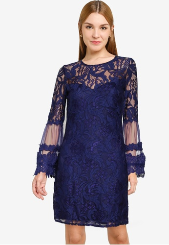 Little Mistress navy Navy Lace Shift Dress 008F3AA67562E7GS_1