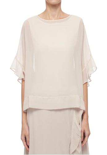 CK CALVIN KLEIN beige Light Drape Jersey With Poly Georgette Top 98A6DAA7B0C2D8GS_1