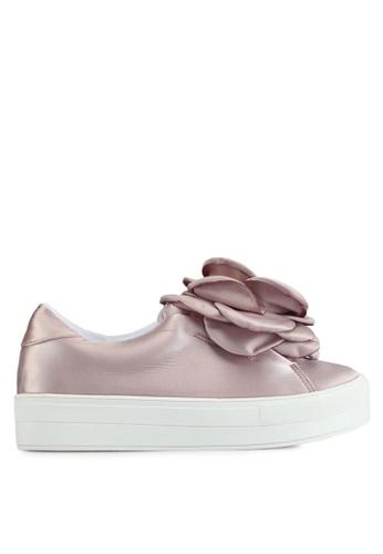 LOST INK 粉紅色 花卉飾緞面厚底鞋 F0CCCSHEB1532AGS_1