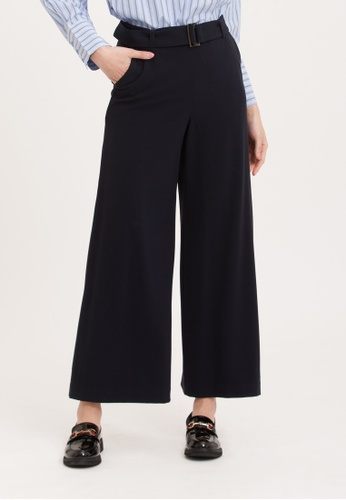 H:CONNECT black Rayon Blend Wide Leg Trouser 0944EAA3F80EE2GS_1