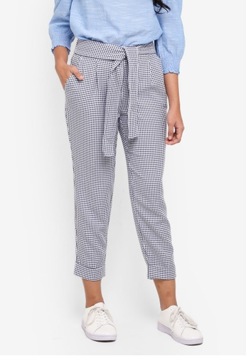 Dorothy Perkins navy Petite Gingham Trousers 15C63AA71F45F5GS_1