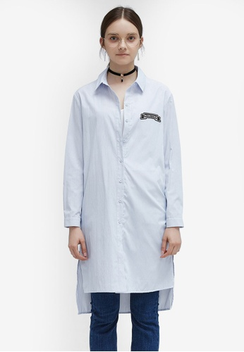 Hopeshow blue Embroidered Patch Long Sleeve Shirt 788BCAA7022285GS_1