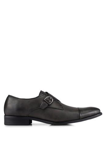 ZALORA grey Faux Leather Single Monk Strap Dress Shoes 9199DAAED44DD3GS_1
