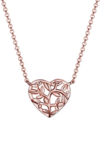00daa1d0fe86 Elli Germany pink Elli Germany 925 Sterling Silver Rose Gold-Plated Tree of  Life Heart