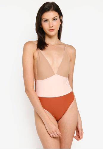 Vero Moda orange Clarissa Swimsuit 13E6CUSFB7AC9CGS_1