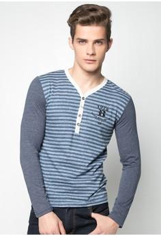 Stripes V-neck Long Sleeves Shirt
