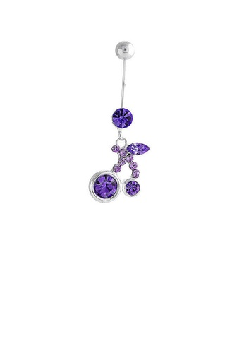 Glamorousky purple Cherry Belly Ring with Purple Austrian Element Crystals D3AE0ACF69713CGS_1