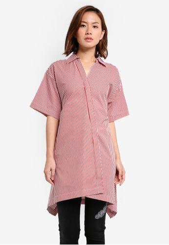 Mango orange Oversize Striped Shirt MA193AA0T0Y4MY_1