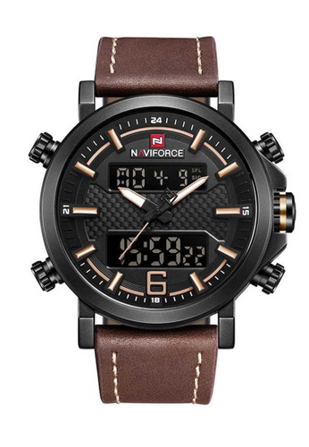 Naviforce brown Naviforce Black and Brown Analog Digital Leather Watch 683E2ACB73D56DGS_1