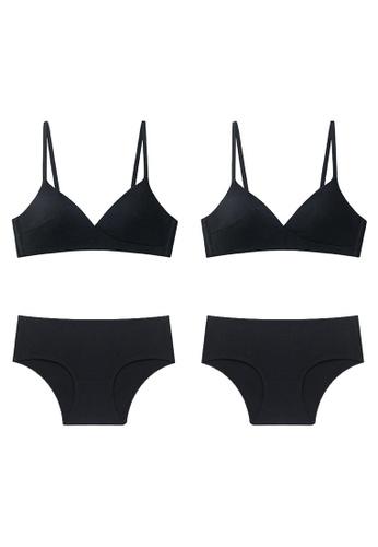 K.Excellence black Premium Comforn Black&black Lingerie Set (Bra and Underwear) FD997US9E0E145GS_1
