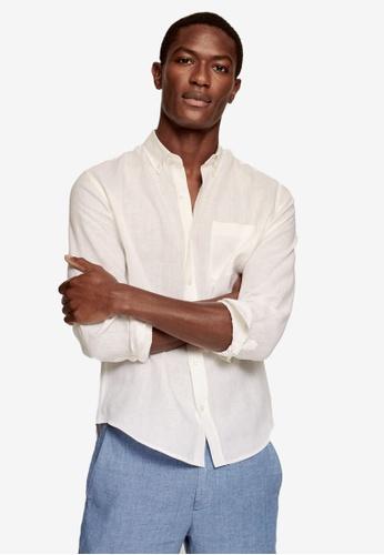 MANGO Man white 100% Linen Slim Fit Shirt 60D10AA5C26FABGS_1
