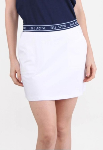 Elle white Stretchable Waistband Tennis Skirt - O.WHITE 2F4E1AA6042DF3GS_1