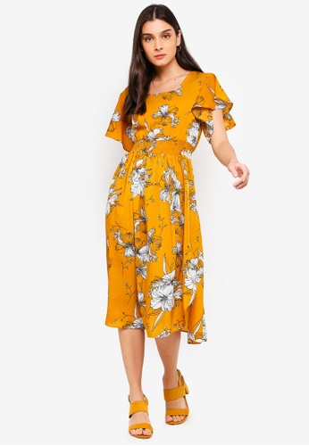 ZALORA white and yellow Ruffles Midi Dress 395BBAA28E26B9GS_1