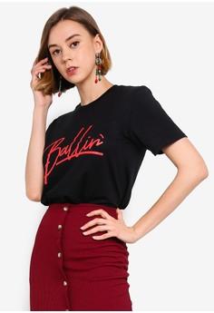 9f12edaf Boohoo black Ballin Slogan Oversized T-Shirt F45BBAA09F1978GS_1