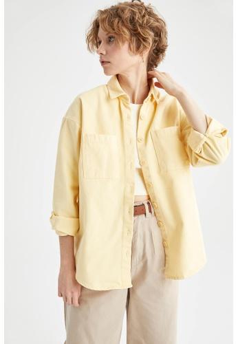 DeFacto yellow Long Sleeve Cotton Shirt 9B41CAA98F1A46GS_1