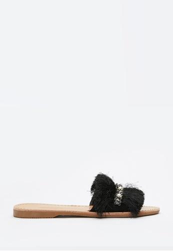 PAZZION black Fringe Slide Sandals 7B625SH0BBBDC9GS_1