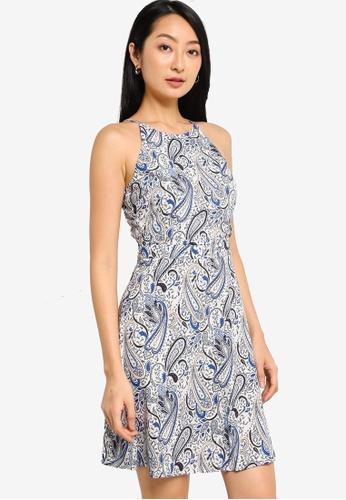 ZALORA BASICS blue and multi Halter Fit & Flare Mini Dress FF1ADAACFC4154GS_1
