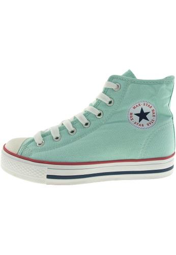 Maxstar 綠色 新款韩国鞋C1-7H時尚帆布布混合女浅蓝色 US Women Size MA345SH03HEQTW_1