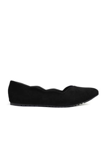 KASOOT black Kasoot Plus Size Scallop Flats Black 95113SH2FD5065GS_1