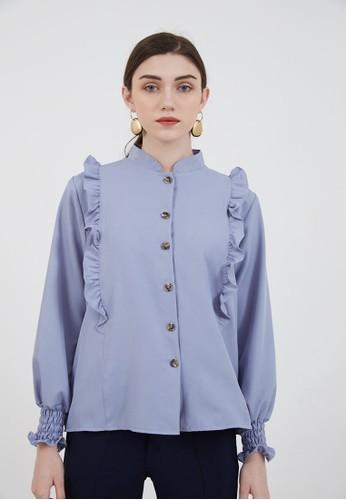 Berrybenka Label blue Sophie Murya Longsleeve Blouse Blue D74F4AA1257CC4GS_1