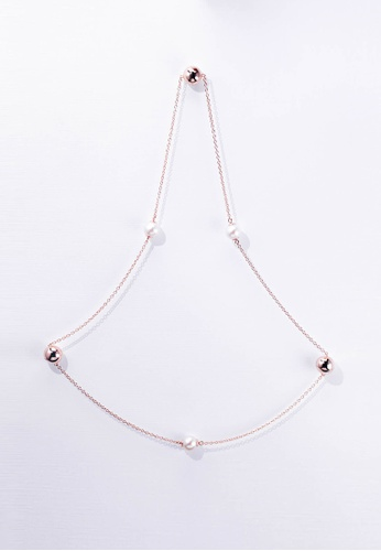 Paradeisos Jewellery white and pink Companions Pearl Magnetic Bracelet To Long Necklace PA467AC0GHU8SG_1