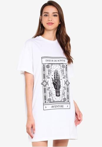 Boohoo 白色 Oversized T恤洋裝 0B935AAAAAA00EGS_1