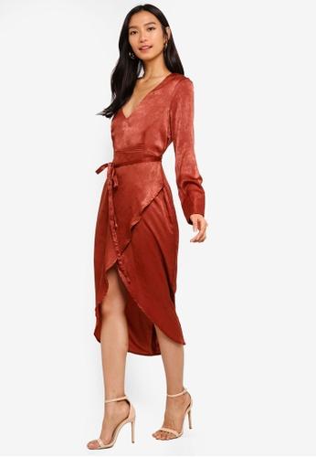 934f7318c3f Shop MISSGUIDED Long Sleeve Wrap Satin Midi Dress Online on ZALORA  Philippines