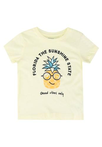 FOX Kids & Baby yellow Yellow With Chest Print Crop Tee FBCD6KABA95DE2GS_1