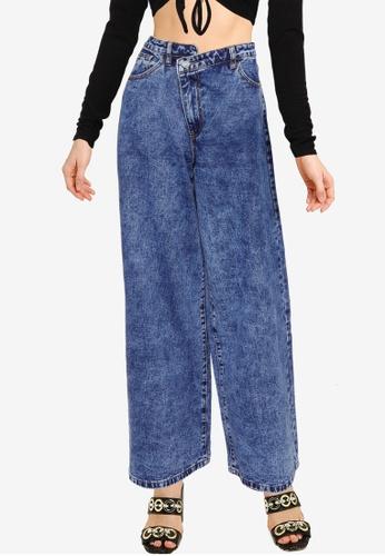 MISSGUIDED blue Asymmetric Waistband Boyfriend Jeans 153ACAA34FC647GS_1