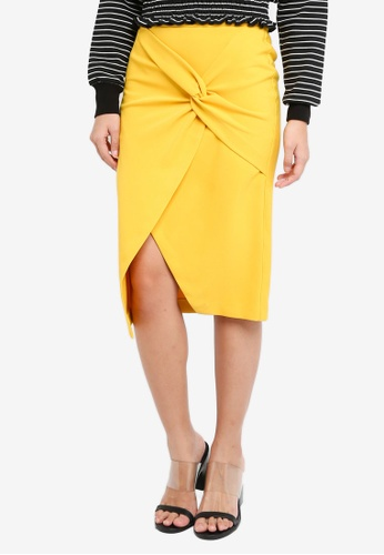River Island yellow Twist Front Pencil Skirt 457F1AAACC7760GS_1