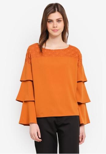 Zalia orange Lace Pieced Layered Sleeve Top B2ADAAAFC896A8GS_1