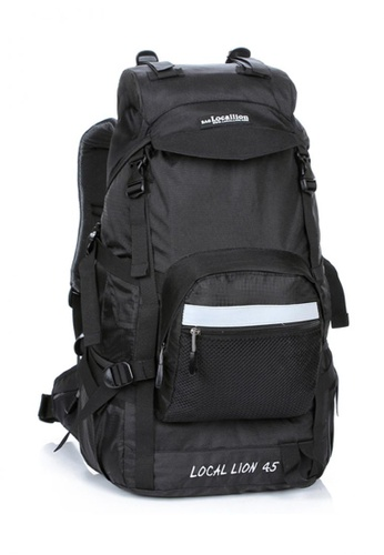 Local Lion black Local Lion Steel Support Water Resistant Hiking Backpack STEEL 45L (Black) LO780SE05SOSMY_1