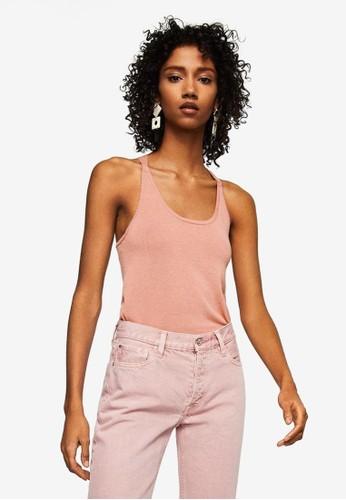 MANGO pink Organic Cotton Strap T-Shirt A29ABAA3796CFBGS_1
