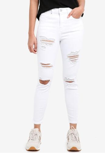 TOPSHOP white Moto Super Rip Jamie Jeans 6449EAAF06F4D4GS_1