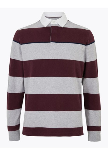 MARKS & SPENCER grey M&S Cotton Striped Long Sleeve Rugby Top 4356EAA12CF3C8GS_1
