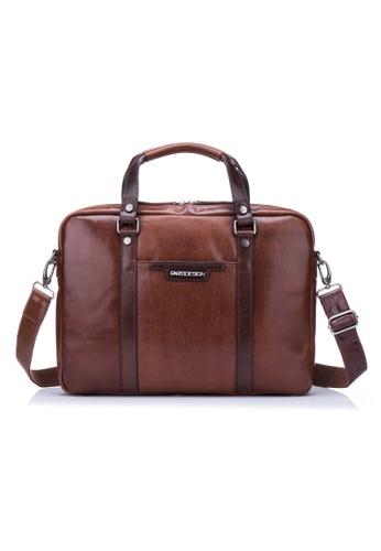 "ENZODESIGN brown ENZODESIGN Fine Buffalo Leather 15"" Macbook Slim Brief B5878ACEB95753GS_1"