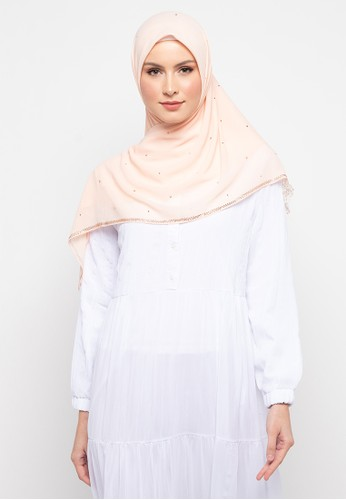 KASHKHA orange Hijab Chiffon With Lace With Stone Scarf By Kashkha/U19SHCAHJBKP9089L-Light Orange E2192AA5480406GS_1