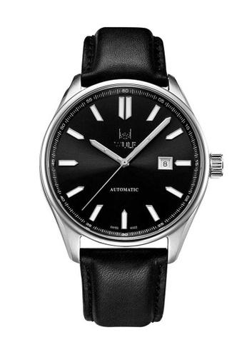 Wulf black Wulf Alpha Silver and Black Leather Watch A77A1AC7F1C4BCGS_1