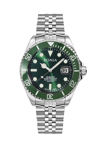 Bonia Watches green and silver Bonia Men Contemporary 2 Straps Set Automatic Limited Edition BNB10666-1392LE (Free Gifts) 25615AC0BC87E9GS_1