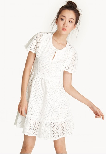 Pomelo white Mini Eyelet Cape Sleeve Dress 4516DAA06B3710GS_1